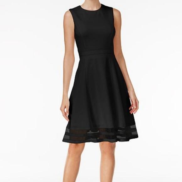 e1871d1d Calvin Klein Dresses | Black Illusiontrim Fit Flare Dress | Poshmark